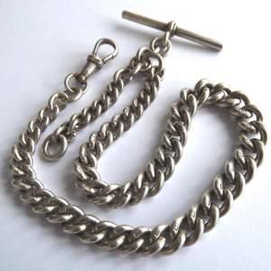 Victorian Solid Silver Hallmarked 1900 Albert Watch Chain