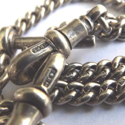 George V 1927 Hallmarked Silver Double Albert Watch Chain image-2