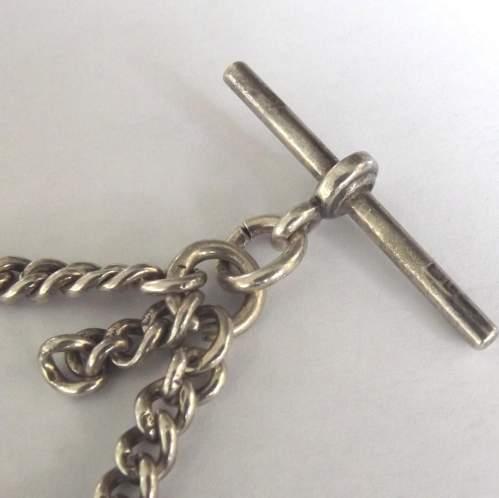 George V 1927 Hallmarked Silver Double Albert Watch Chain image-5