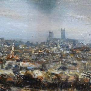 Lincoln from South Common by Fraser Scarfe Oil Painting on Board