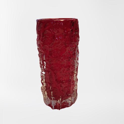 Whitefriars Ruby Glass Bark Vase image-1