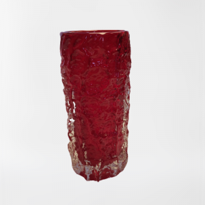 Whitefriars Ruby Glass Bark Vase
