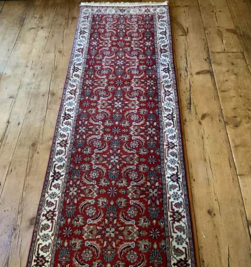 Stunning Hand Knotted Indo-Persian Runner In Herati Design image-1