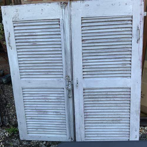 Original Old Pair of French Window Shutters with Locking Bar image-1