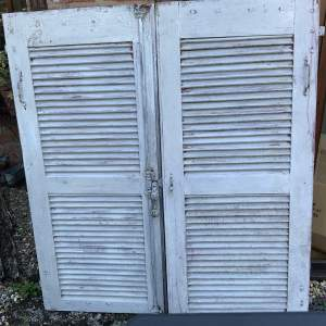 Original Old Pair of French Window Shutters with Locking Bar