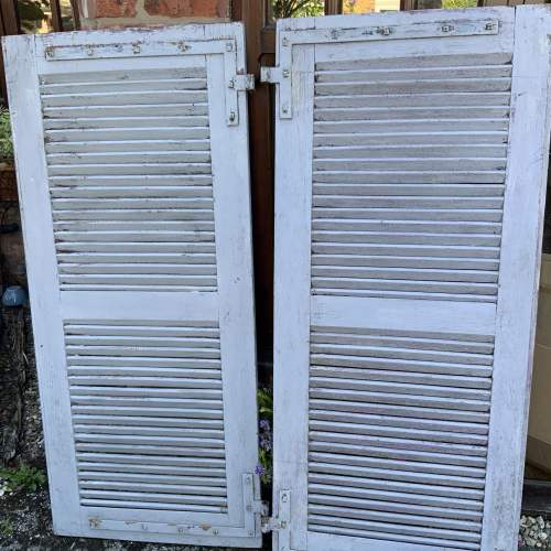 Original Old Pair of French Window Shutters with Locking Bar image-5
