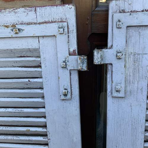 Original Old Pair of French Window Shutters with Locking Bar image-6