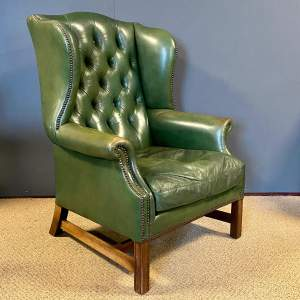Mid 20th Century Green Leather Wing Armchair