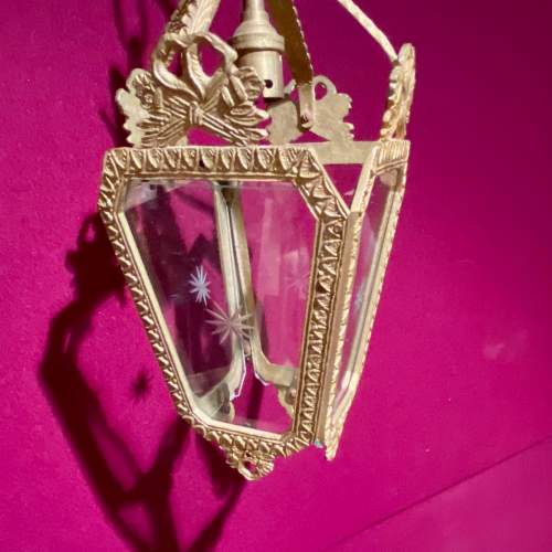 Edwardian Gilded Metal and Cut Lead Crystal Hall Lantern image-4