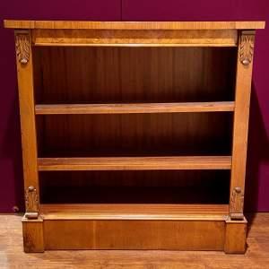 Victorian Style Burr Walnut Open Bookcase