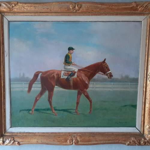 Eugene Pechaubes Oil on Canvas Painting of The Jockey image-1