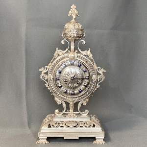 19th Century Silver Plated Bronze French Table Clock