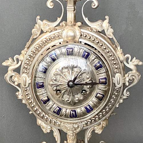 19th Century Silver Plated Bronze French Table Clock image-2