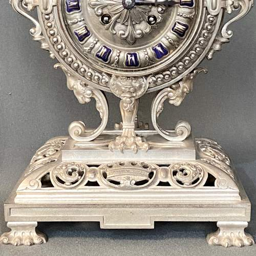 19th Century Silver Plated Bronze French Table Clock image-4