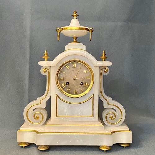 French White Marble Onyx Mantel Clock image-1