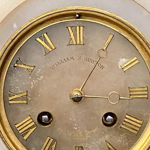 French White Marble Onyx Mantel Clock image-2