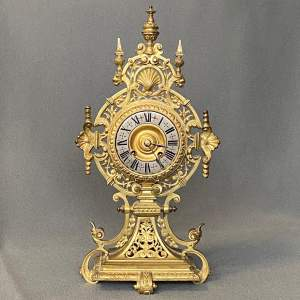 19th Century French Pierced Gilt Bronze Mantel Clock