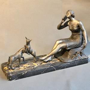 Art Deco Spelter Figure Of Lady and Lambs