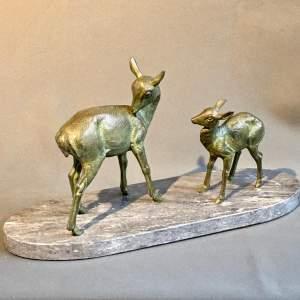 Art Deco Figure of Pair of Spelter Deer