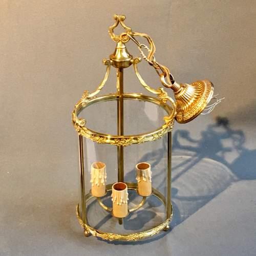 Brass Framed Glass Lantern Light image-1