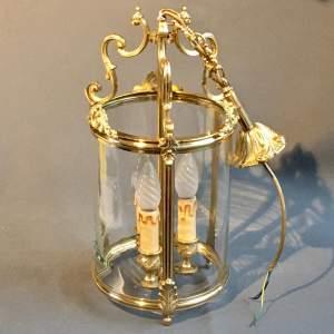Large Brass Framed Glass Lantern Light