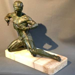 J.Roncourt Spelter Figure Of Man
