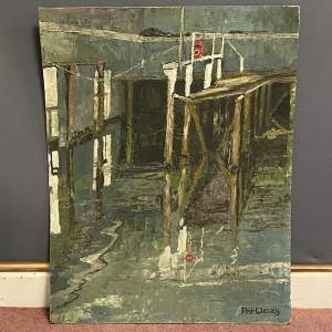 20th Century Oil on Board a Painting of a Harbour Scene