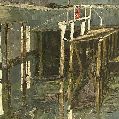 20th Century Oil on Board a Painting of a Harbour Scene image-2