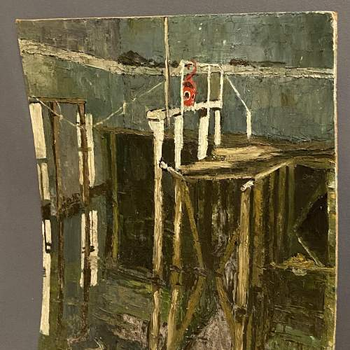 20th Century Oil on Board a Painting of a Harbour Scene image-4