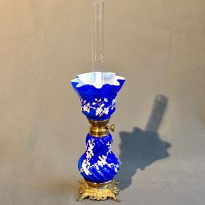 Decorative Blue Glass Oil Lamp and Shade