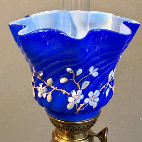 Decorative Blue Glass Oil Lamp and Shade image-3