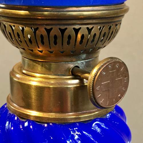Decorative Blue Glass Oil Lamp and Shade image-5
