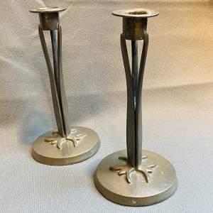 Pair of Art Nouveau Homeland Pewter Candlesticks
