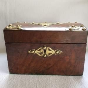 Victorian Walnut and Brass Tea Caddy
