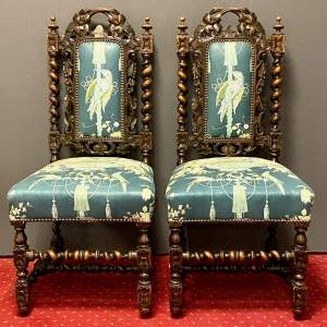 Pair of 19th Century Carved Oak Chairs