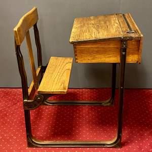 Victorian Oak and Cast Iron School Desk
