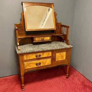 Art Nouveau Walnut Marble Top Dressing Table