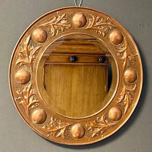 Arts and Crafts Copper Circular Framed Wall Mirror attributed to Keswick School image-2