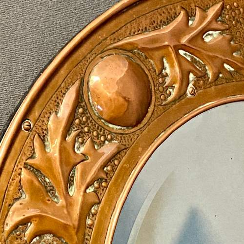 Arts and Crafts Copper Circular Framed Wall Mirror attributed to Keswick School image-4