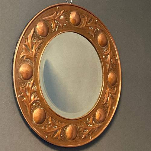 Arts and Crafts Copper Circular Framed Wall Mirror attributed to Keswick School image-1