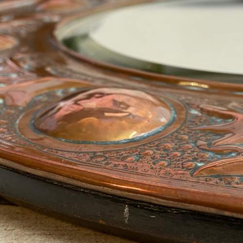 Arts and Crafts Copper Circular Framed Wall Mirror attributed to Keswick School image-6