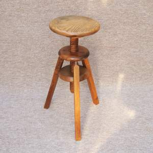 20th Century Adjustable Height Oak Stool