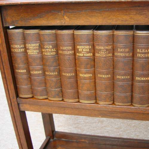 Mahogany Book Case with Dickens Books image-4