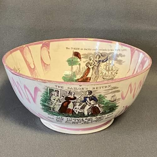 19th Century Sailors Return Sunderland Lustre Bowl image-1