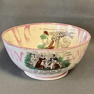 19th Century Sailors Return Sunderland Lustre Bowl