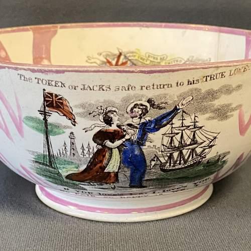 19th Century Sailors Return Sunderland Lustre Bowl image-4
