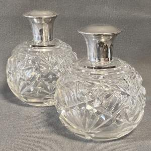 Pair of Silver Topped Glass Scent Bottles