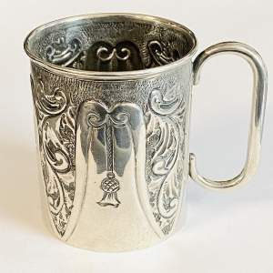 Art Nouveau Silver Chistening Mug