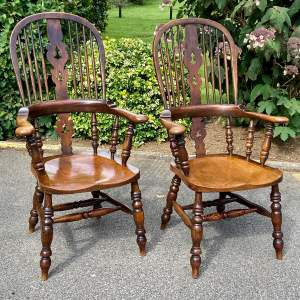 Fantastic Pair of 19th Century Ash and Elm Windsor Chairs