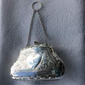 George V Silver Purse with Kid Tan-Lined Interior